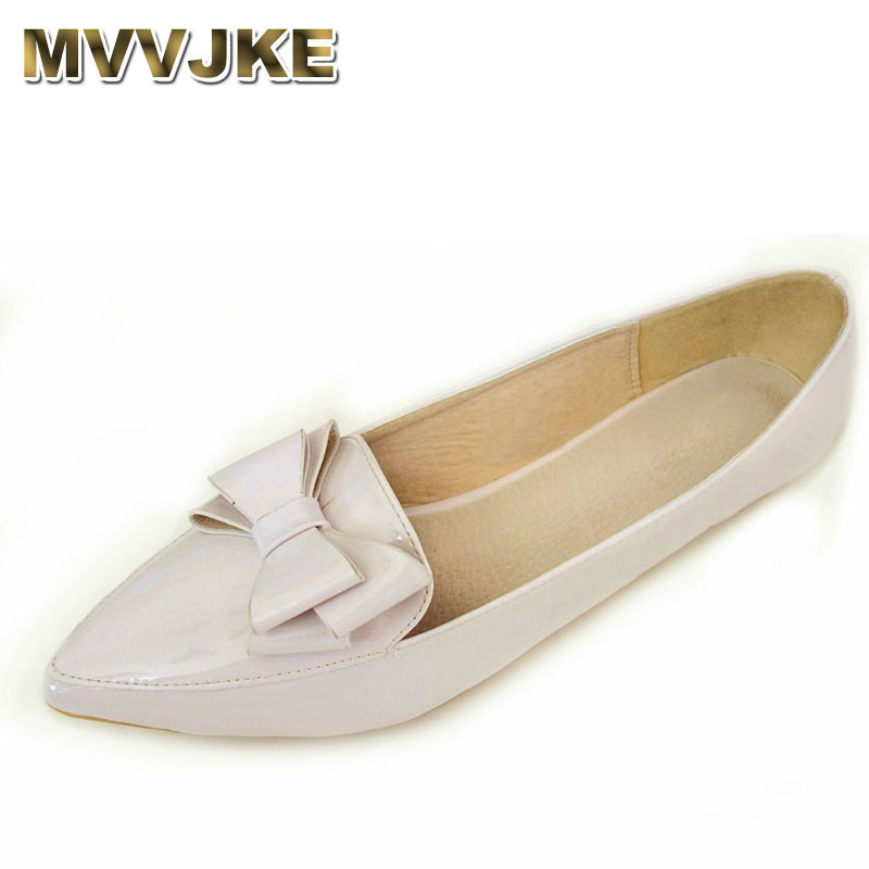 MVVJKE Sweet Bowtie Women Flat Shoes Spring Nude Female Flats Extra Big Size 34-43 Autumn Ladies Shoes Patent Leather Point Toe spring summer women leather flat shoes 2017 sweet bowtie flats women shoes pointed toe slip on ladies shoes low heel shoes pink