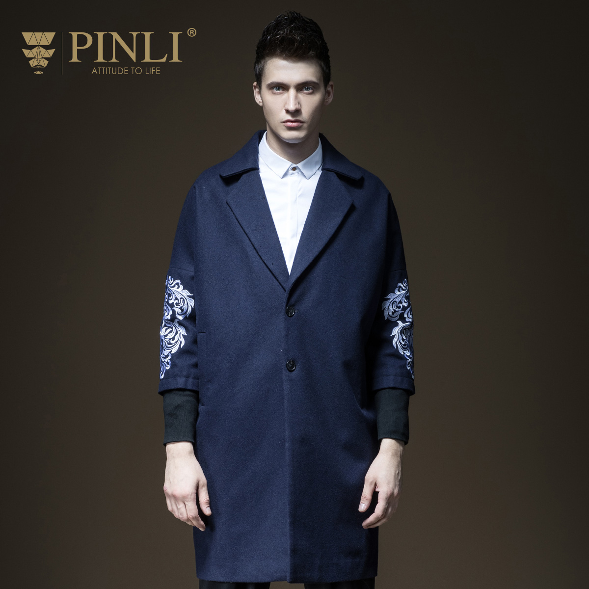 2019 100% Wool Solid Offer 100% Wool Liner Single Breasted Half Palto Pinli New Autumn Men's Embroidered Long Coat B173402427