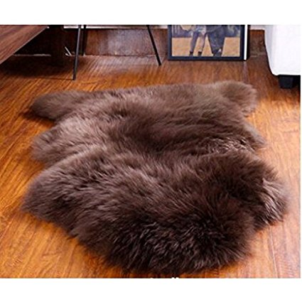 Brown Zealand Australian Wool Area Rugs 2x3 Feet Real Sheepskin Rug Floor Mat Genuine