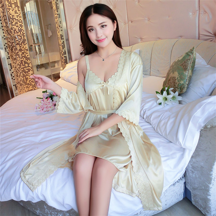 (Basic+Outwear)Sexy Summer   Nightgown     Sleepshirts   Womens Robe Kimono Bath Gown Faux Silk Sleepwear Silky Nightwear Female Dress