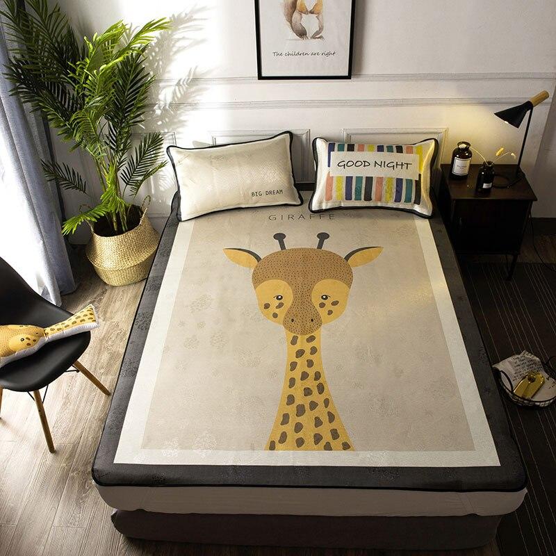 2018 Nordic Summer mat kit cartoon bed sheet set with elastic giraffe fitted sheet mattress cover 180*200cm bedspread 3pcs/set
