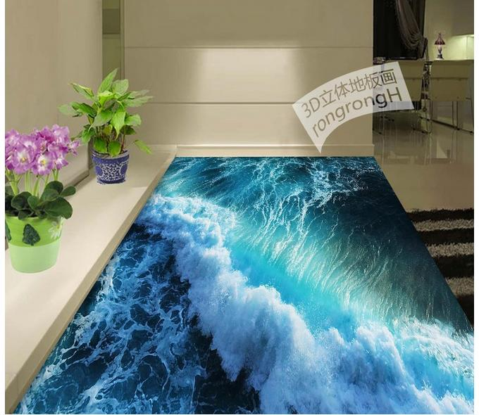 Personnalisé 3d plancher papier peint 3D été vagues plancher 3d mural PVC papier peint auto-adhérence sol wallpaer pour salon décor - 4