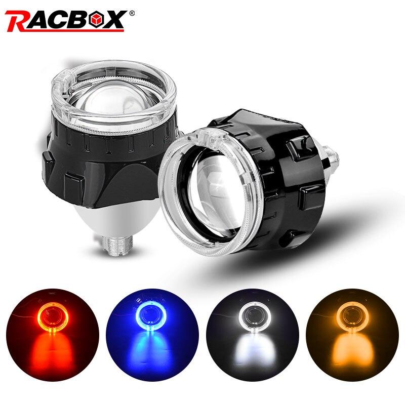 Mini lentille de projecteur Bi xénon 2.5 pouces avec masque noir yeux d'ange H7 H4 prise de phare utiliser H1 HID ampoules LHD RHD voiture style