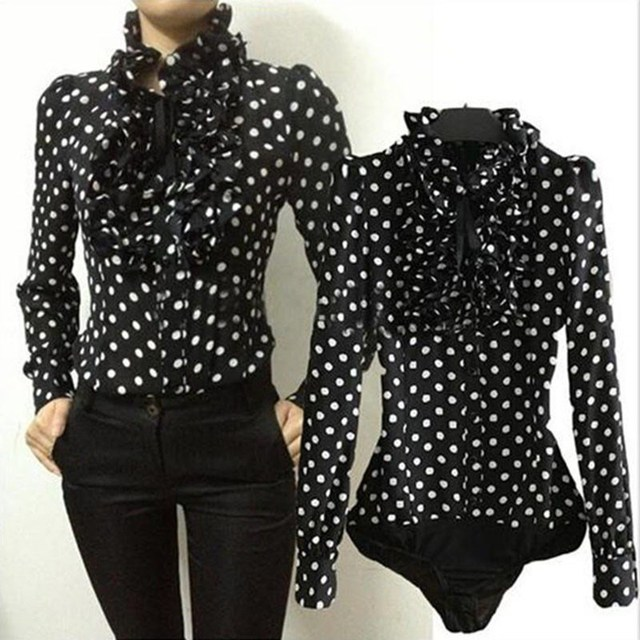 2018 Hot Fashion Style Vintage Chiffon Polka Dots Women's Body Blouse