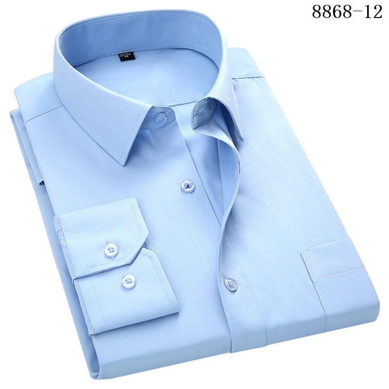 4XL 5XL 6XL 7XL 8XL Large Size Men's Business Casual Long Sleeved Shirt White Blue Black Smart Male Social Dress Shirt Plus 16