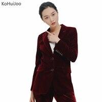 KoHuiJoo Green Black Wine Red Velvet Blazer Women 2019 Spring Single Breasted Button Velvet Jacket Elegant Lady Suit Jackets