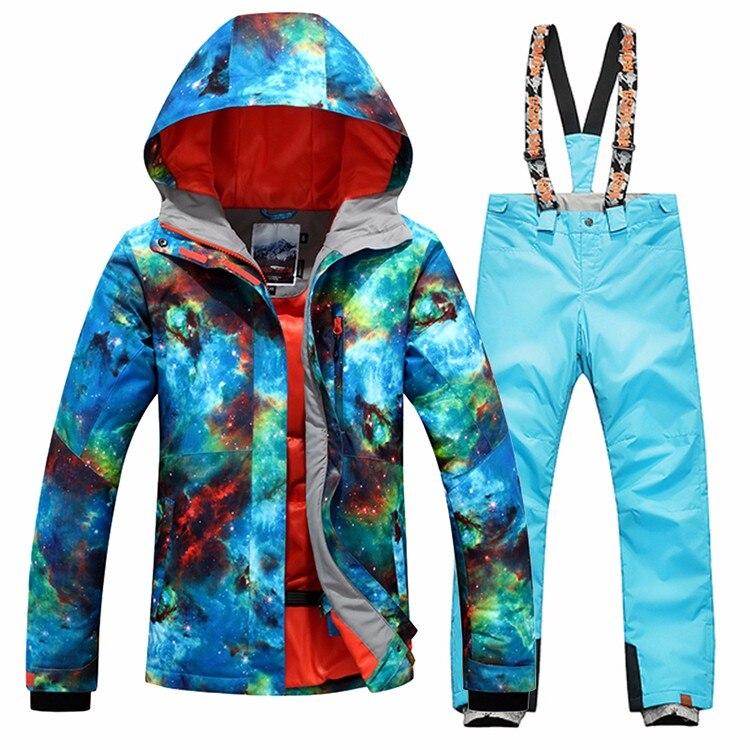 Prix pour Livraison gratuite Gsou SNOW Femmes Snowboard combinaison de ski femmes de ski veste de ski + pantalon ensembles sports de Plein Air coupe-vent vêtements chauds