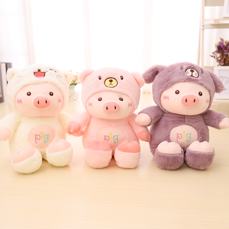 Kawaii Pig Stuffed Plush Doll Cosplay Cat&Bear&Dog Toy Baby Soft Animal Pig Pillow Children Girl Birthday Christmas Gift