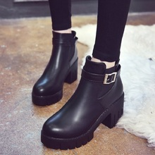 Winter Boots Female Autumn Chelsea Boots Women Fashion Ankle Boots Women Thick Heel Platform Boots Slip-On Women Heels Shoes