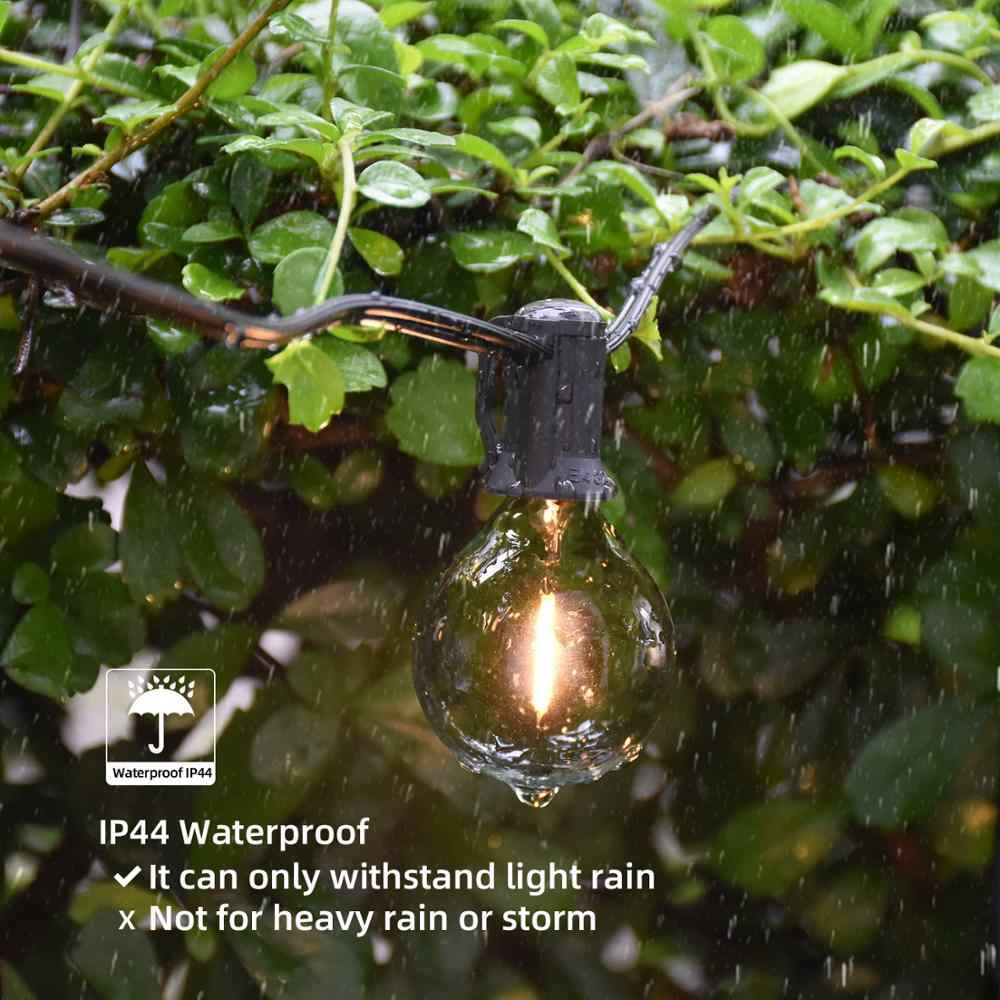 Newpower 25ft LED Globe-String Lichter mit G40 Vintage Edison Led-lampen IP44 Wasserdicht Warmweiß Keine Dimmbare für Indoor/ outdoor