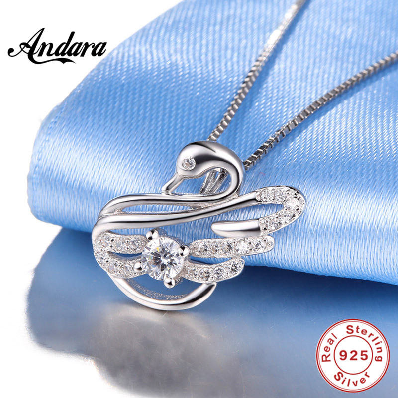 <font><b>ANDARA</b></font> Authentic 925 Sterling Silver <font><b>Crystal</b></font> Mysterious Swan Pendant Necklace For Female Jewelry image