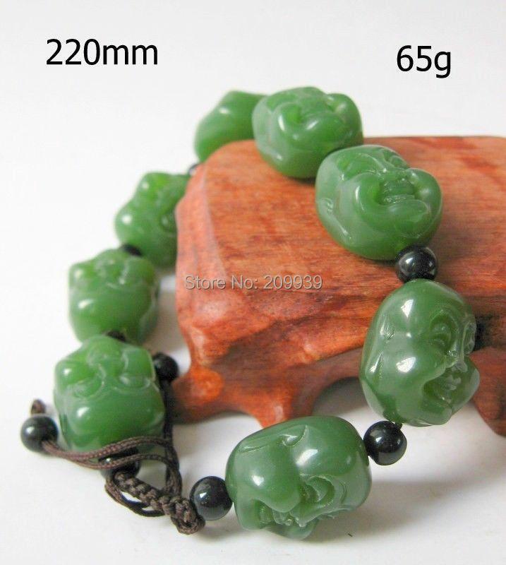 huij 00702 magnifiquement élégant 100% naturelles jade hetian main- bouddha sculpté bracelet
