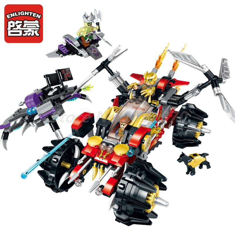 Enlighten 2213 462pcs Creation Of The Gods War Demon Blade Truck 3 Figures Learning Building Block Model Sets Toy For Boy Gifts
