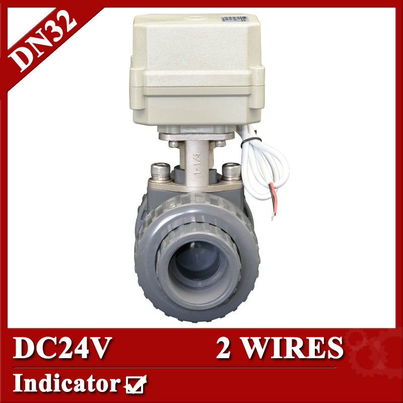 1 1/4 DC24V Plastic electric motor valve, 2 wires control(CR201) PVC ball valve,DN32 motorized ball valve 1 2 dc24vbrass 3 way t port motorized valve electric ball valve 3 wires cr301 dn15 electric valve for solar heating