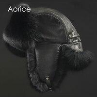 Aorice 170766 Men Fox Fur Raccoon Fur And Sheep Skin Hat
