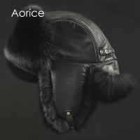 Aorice 170766 Men Fox Fur Raccoon Fur And Sheep Skin Hat