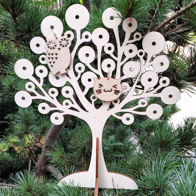 US $13 0 |Jewelry Stand Wood Tree Shape Jewelry Organizer Earring Necklace  Display Wooden Tree Holder Laser Cut Craft-in Wood DIY Crafts from Home &