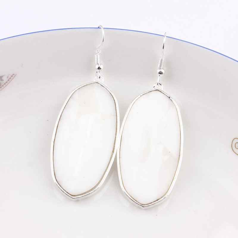 Dropshipping 2019 Silver Oval Shell Earrings for Women Famous Brand Designer Jewelry KS Statement Dangle Earrings Wholesale