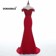 Doragrace Real Photo robe de soiree Off-Shoulder Prom Dresses Mermaid Evening Gowns Red Party