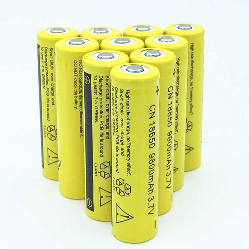 16PCS 18650 3.7V 9800mAh(Not AA) MICKTICK Battery batteries batteria lithium Li Ion Rechargeable Large Capacity Flashlight LED