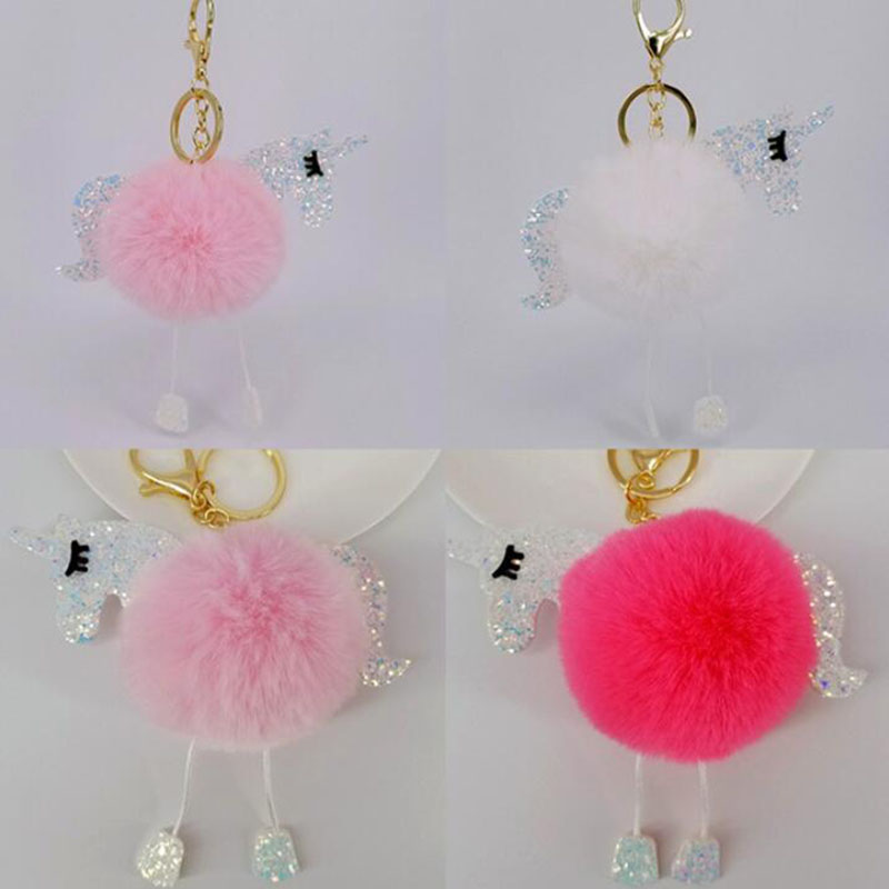 Car Keychain Bright Color PU Unicorn rabbit hair keychain Car Keys Car Hang Girl Bag Pendant Jewelry Accessories Key Rings in Key Rings from Automobiles Motorcycles