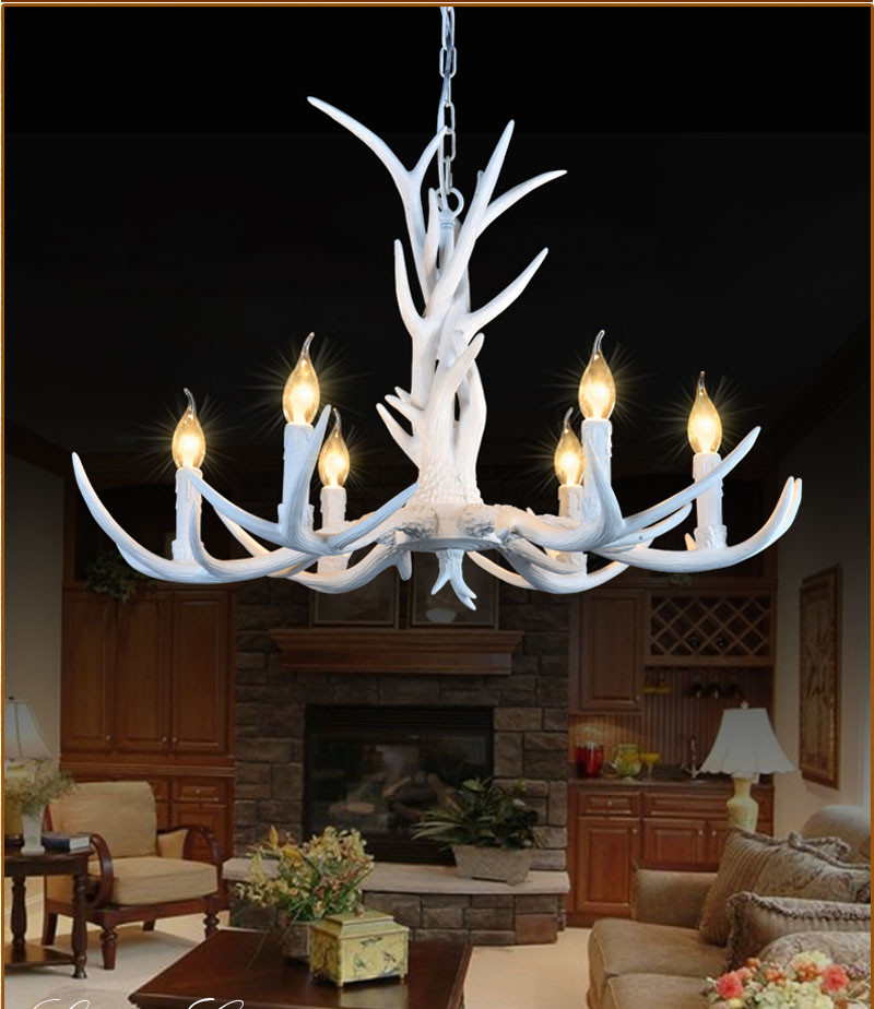 6/8/10 Heads American Retro Pendant Lamp Europe Country Fixture Resin Deer  Horn Antler Chandeliers Decoration, E14 110-220V