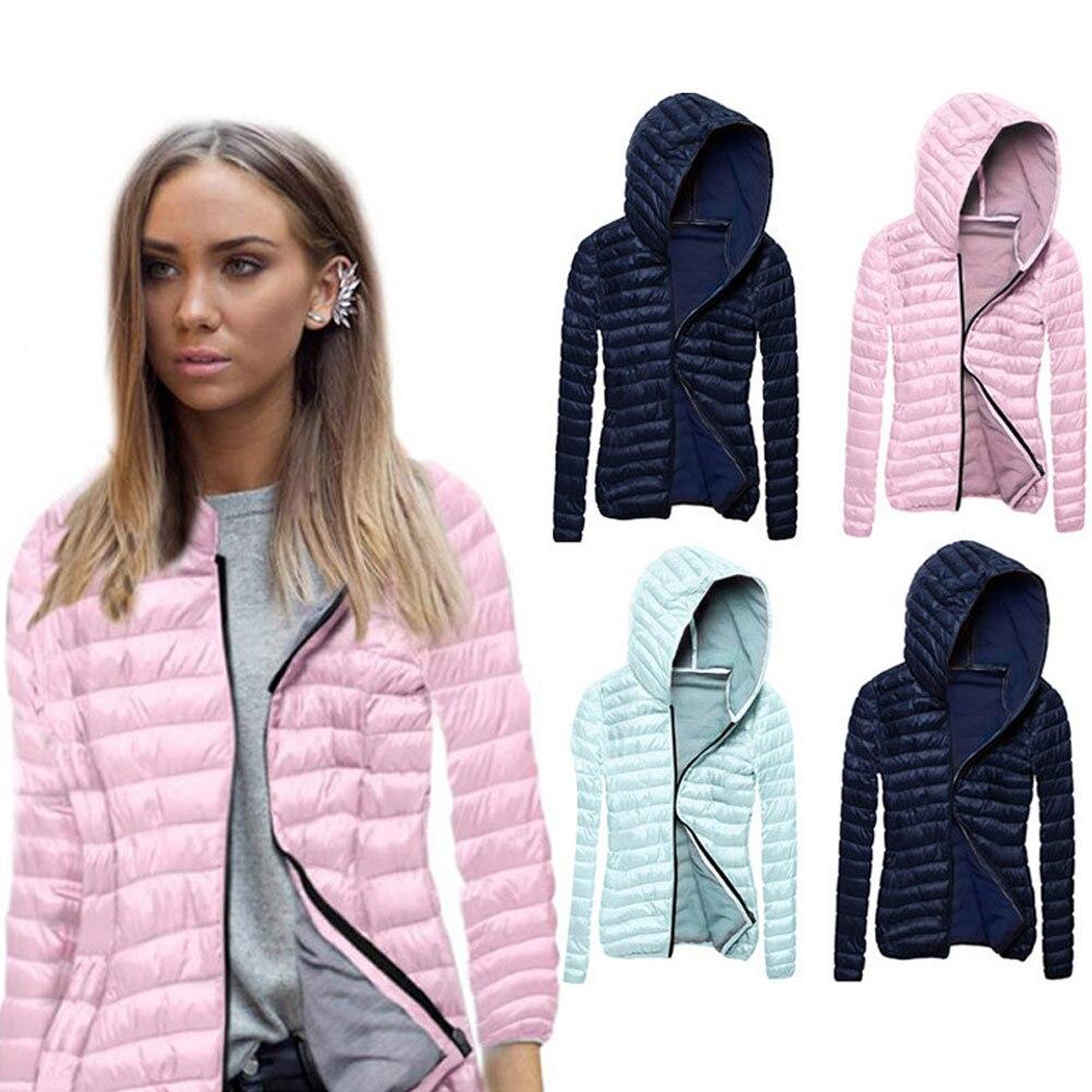 Mujeres de invierno de la moda abrigo de manga larga de Color sólido con cremallera Outwear caliente señoras niñas chaqueta Casual H9