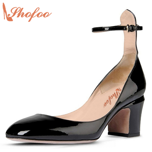 a87f47b7aeb7 Women Retro Ankle Strap Mid Heels Dress Pumps Almond Toe Patent Leather  Shoes Size4-16 US Shofoo Design Women Casual Shoes