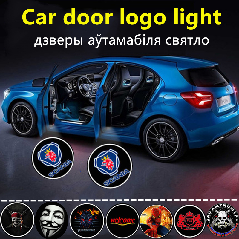 2pcs For SCANIA Logo LED Car Door Welcome Light Logo Projector For Scania Blue Griffin Logo