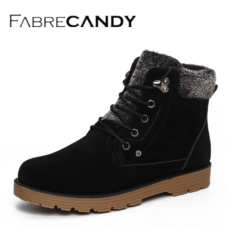 FABRECANDY Hot Newest Keep Warm Men Winter Boots High Quality Leather Wear Resisting Casual Shoes Working