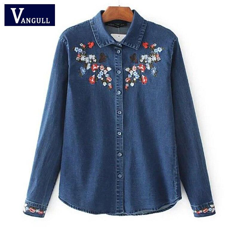 Aliexpress buy women embroidery denim shirt new