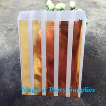 Free Shipping 2500pcs Personalized Favor BagsGold Foil Striped Wedding Favor Bag Custom Shower