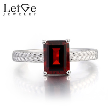 Leige Jewelry Garnet Cocktail Party Ring Natural Garnet Ring Emerald Cut Red Gems January Birthstone 925 Sterling Silver Ring