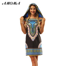 AMOMA Women Hooded Summer Mini Dress Floral Printed Folk Style Loose Casual Dress