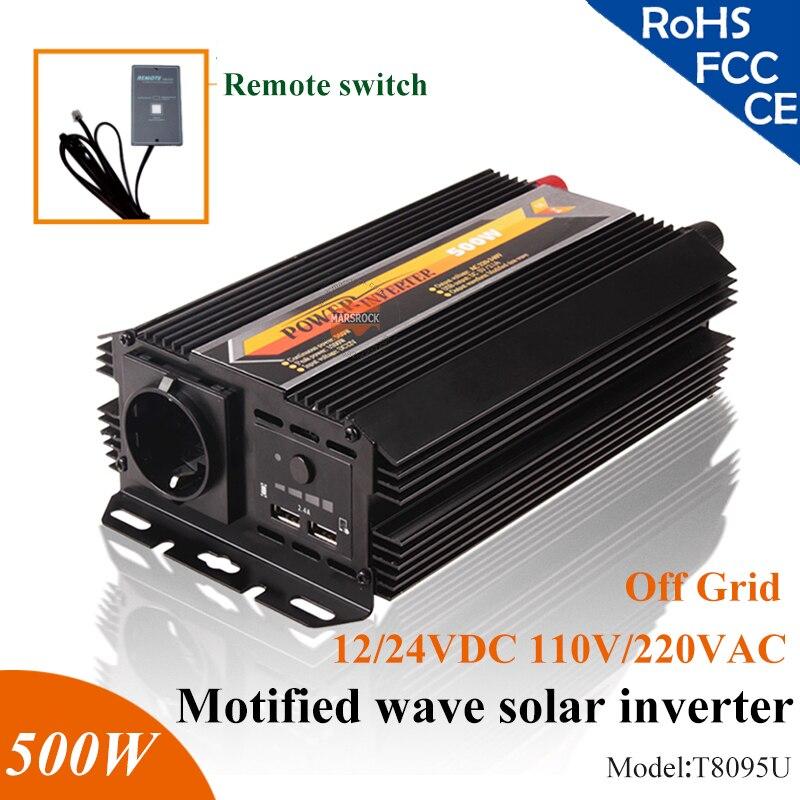 500W 12V 24V modified sine wave off grid solar inverter with 5V USB port