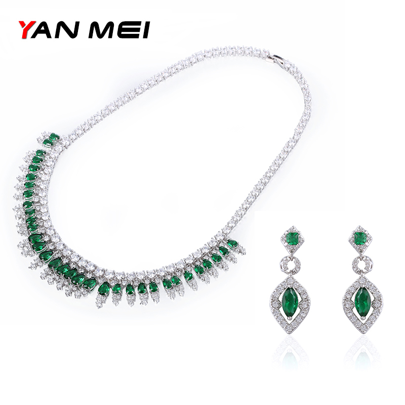 YAN MEI Women Green Stone Exquisite Charm Geometric Cubic Zirconia Jewelry Sets Engagement Gift GLE5393Y smc 3 way pilot solenoid valve vqz232 5l1 m5 page 2