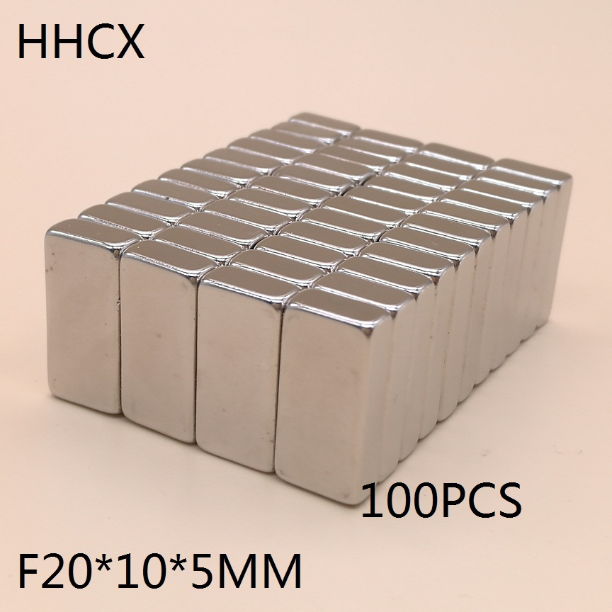 100pcs lot NdFeB Magnet 20 10 5 mm block magnets 20x10x5 mm N35 Strong Square Neodymium