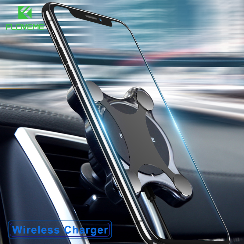 FLOVEME Car Mount Qi Wireless Charger For iPhone X 8 Plus Flash Charge Wireless Charging Pad Car Holder Stand For Samsung S9 S8