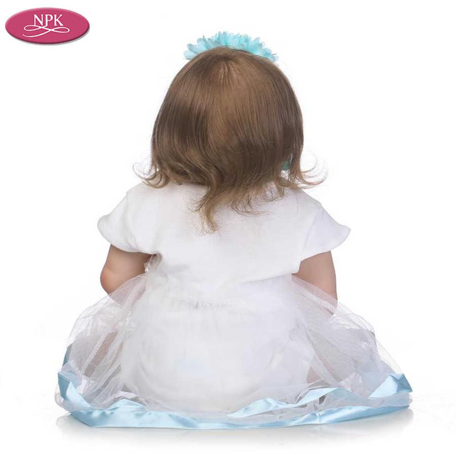 NPK 57 CM Corpo Renascer Bebês Crianças Bathe Brinquedos Boneca de Vinil SIlicone Cheio Realista Real Bebê Menina Realista Reborn Bebe Bonecas