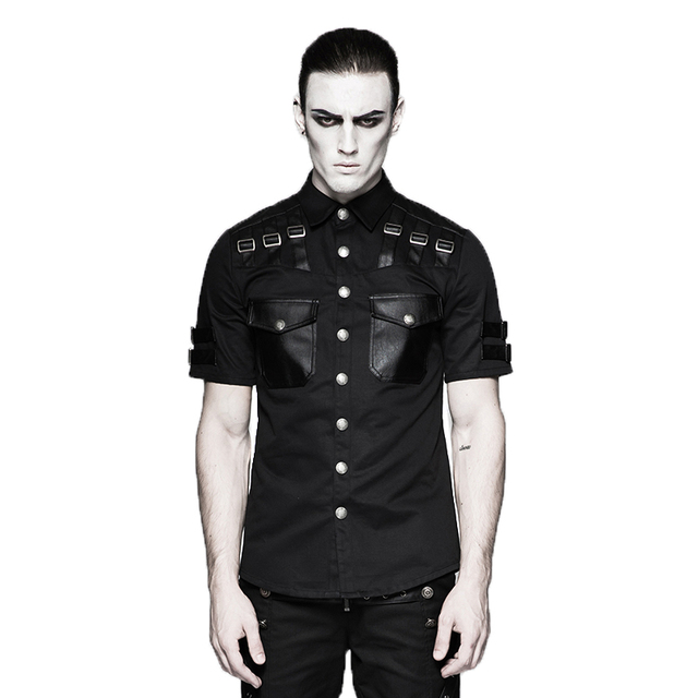 9831bcff54467 Punk Summer Handsome Short Sleeve Shirt Military Style Steampunk Turn-down  Collar Shirts Black Blouses Plus Sizes Clothing S-4XL