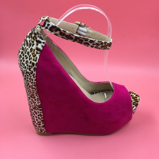 3b43f77da5b9 Hot Pink Leopard Women Wedge Heels Pumps Ankle Strap Peep Toe Womens High  Heels Shoes 2016 zapatos con plataforma