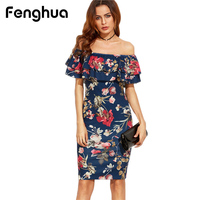 Fenghua Summer Dress Woman Party Dresses 2017 Elegant Sexy Casual Slim Print Off Shoulder Bodycon Dress