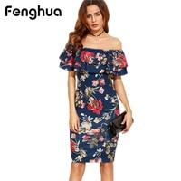 Fenghua Summer Dress Woman Party Dresses 2017 Elegant Sexy Casual Slim Print Off Shoulder Bodycon Dress