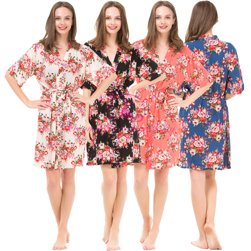2016 New Fashion 4 Colors Women Floral Robes Cotton Pajamas For ...