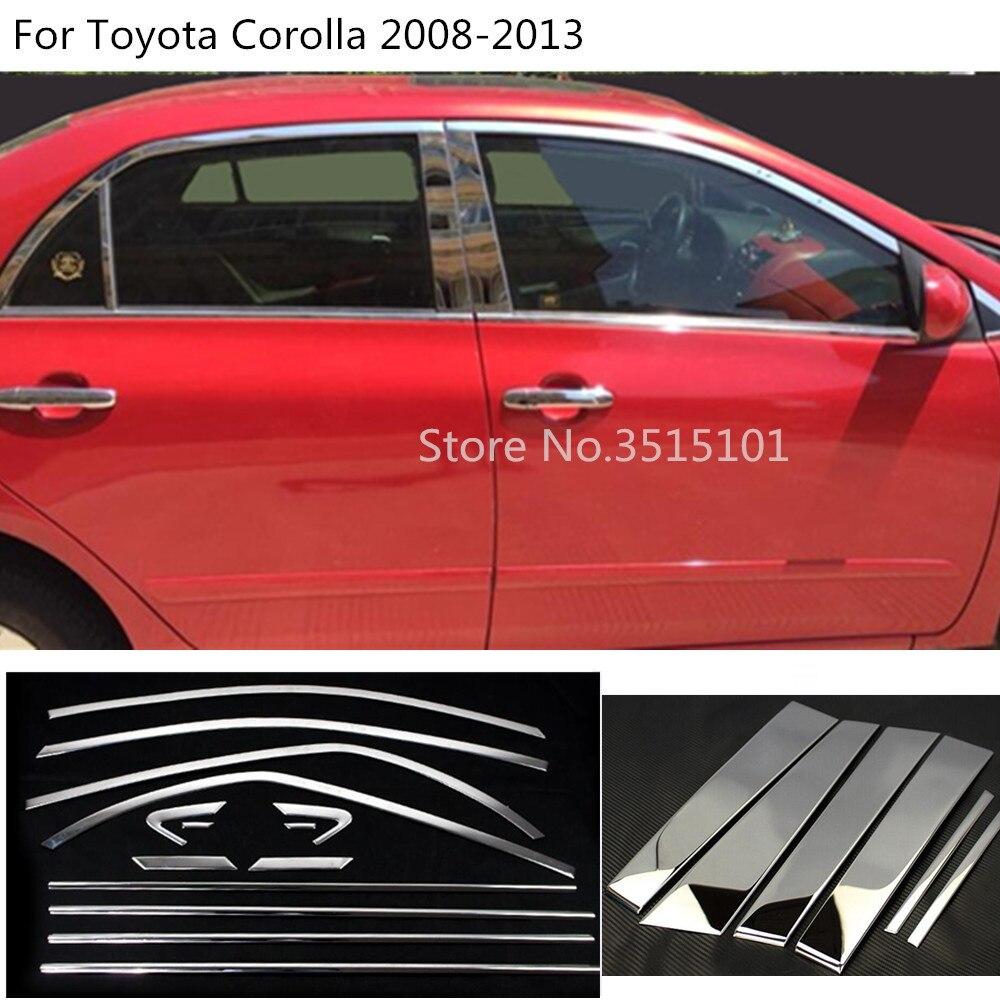 Car Styling Body Glass Window Garnish Pillar Middle Column Strip Trim For Toyota Corolla Altis 2008 2009 2010 2011 2012 2013 Chromium Styling Automobiles & Motorcycles - title=