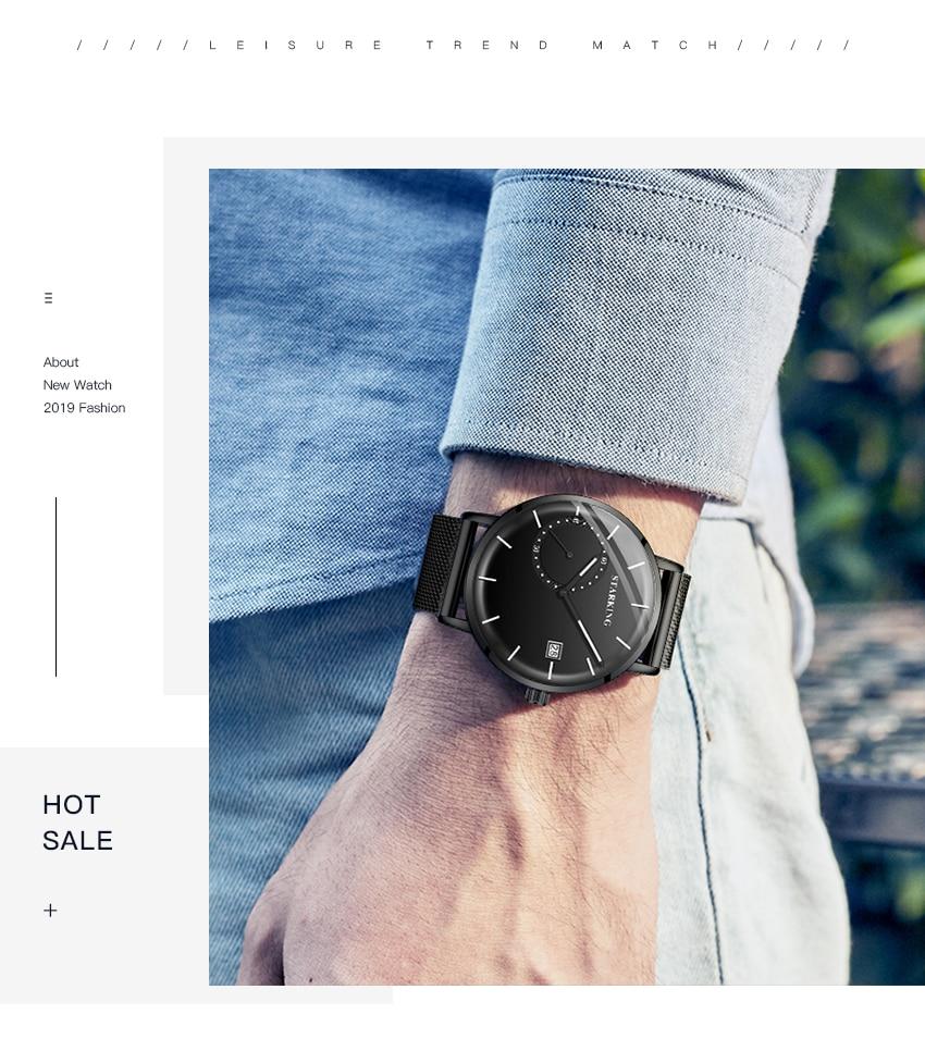 HTB1Avhzek9E3KVjSZFGq6A19XXaI STARKING Dress Men Watch Steel Mesh Band Quartz Analog Wristwatch 3ATM Waterproof Curved Glass Blue Male Clock Relogio Masculino