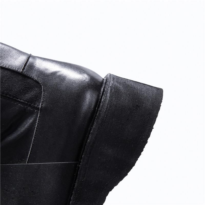 Talones Vaca Invierno Elástico Punta Zapatos Cuero Masgulahe Med Otoño Tejido Plataforma De Señoras Baile Moda Redonda Negro pnpSFqO