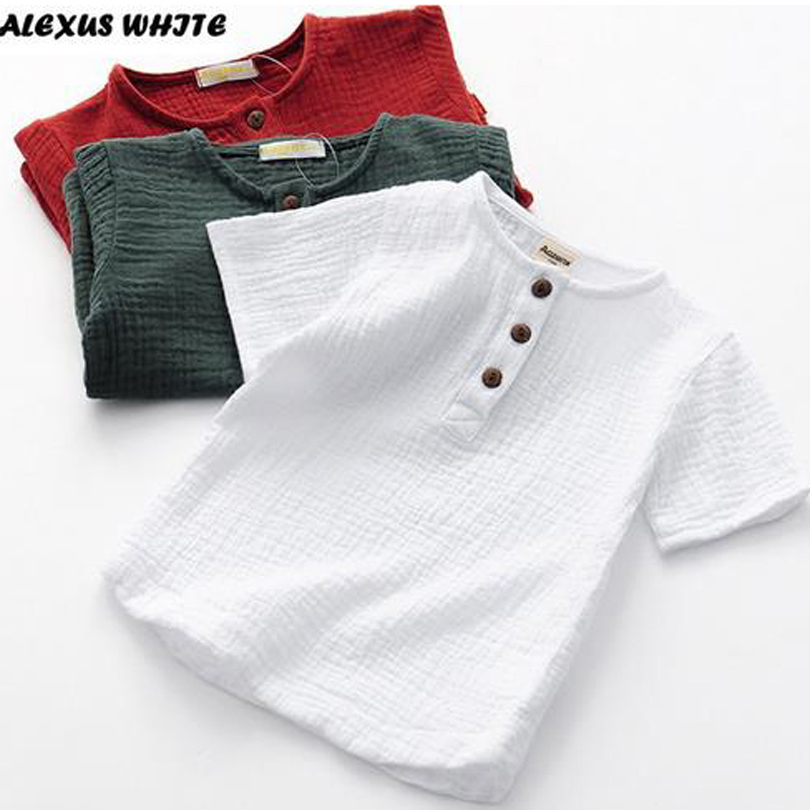 Linen 2020 Cotton Baby Boy Girl Summer T Shirts New Toddler Comfortable Tops Tee Children Clothing Kids Button 90-140CM Height
