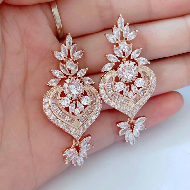 Trendy Cubic Zirconia Drop Clear Micro Cz Dangle Earrings Chandelier Shape Wedding Bridal Earring For