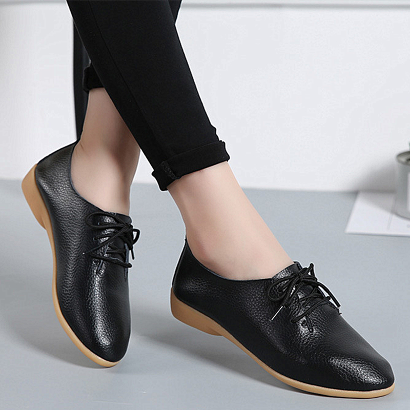 Image 4 - DONGNANFENG Women Ladies Female Mother Leather Shoes Flats Loafers Cow Genuine Leather Pigskin Lace Up Moccasins 35 41 XXH 929Womens Flats   -